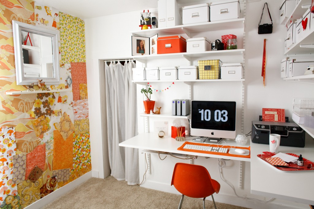 Awesome Office Exquisite Home Office Desk Design With Wall Shelf Decorating