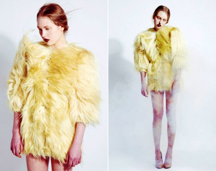 ShaoYenFall2011CollectionYellowFurDress